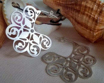 Handcrafted silver earrings, sterling silver earrings, handcut jewelry, one-of-a-kind jewelry, handcut earrings, gift for her, Nilaj