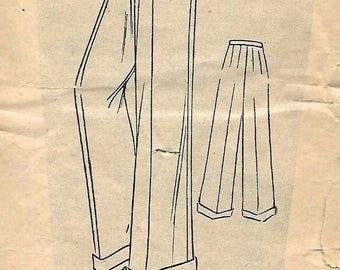 "Vintage 1940's Sewing Pattern WWII Wartime Women's Slacks Wide Trousers Hip 36"""