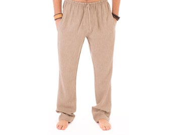 Mens Brown Trousers 100% Cotton Yoga Casual Beach Lounge with Elasticated Waist Draw String and Pockets