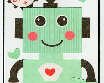 Robot Love Valentine Paper Piecing Premade Scrapbook Card