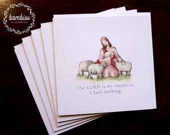 5 Cards Set - Baptism Card - Psalms - Bible Cards - Jesus - Christian Card