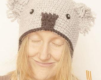 Crochet chapeau Koala, bonnet tricot oreilles, chapeau gris Koala, cadeau  pour elle,