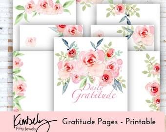 Printable Gratitude Inserts, Gratitude Journal, Planner Inserts, Printable Planner, Gratitude Log Instant Download Gratitude Printable Pages