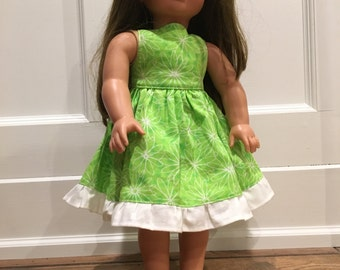 Lime Floral Sundress - fits American Girl Doll, 18 inch