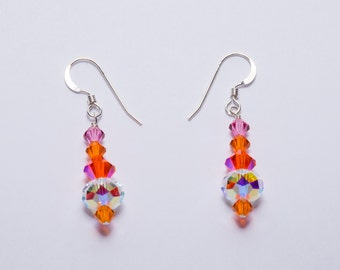 Orange Swarovski Earrings
