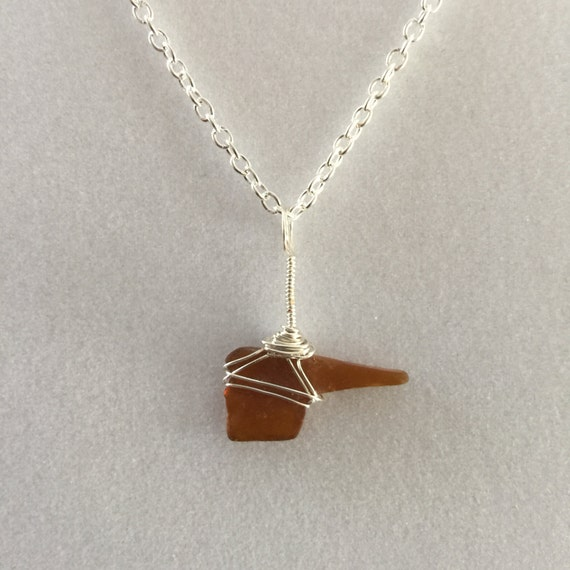 Cape Cod Sea Glass Flying Elvis Pendant Brown With Silver