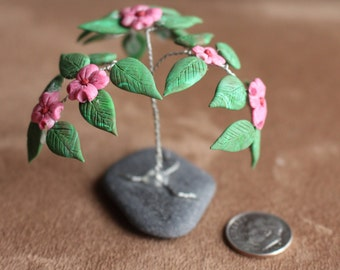 Wire Wrap Tree Sculpture With Polymer Clay Leaves and Flowers