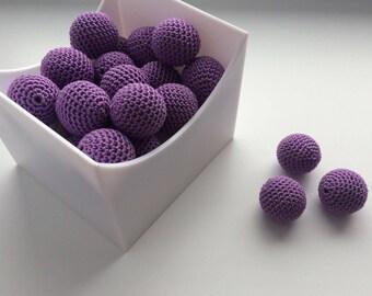 Crochet beads 20 PCS Wooden crochet cotton beads Round beads Necklaces Handmade teething crochet wooden beads Crocheted bead