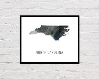 North Carolina Map Print, North Carolina Art, North Carolina Printable Wall Art, Watercolor Map, Large Poster, North Carolina State Map