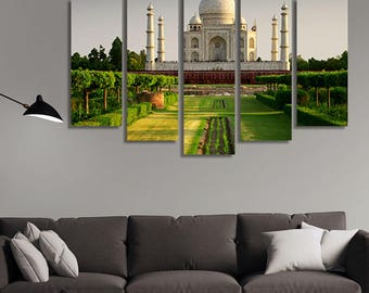 LARGE XL Taj Mahal, Agra, India Canvas Print Indian Palace Canvas Monument at Daytime Canvas Wall Art Print Home Decoration - Stretched