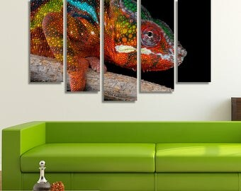 LARGE XL Colorful Chameleon Canvas Print Chameleon on a Tree Branch Canvas Rainbow Animal Nature Wall Art Print Home Decoration - Stretched