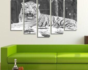 White Tiger, Tiger Print, Tiger Wall Art, Animal Print, Animal Canvas, Black And White Prints, Black And White Photography, Animal Canvas