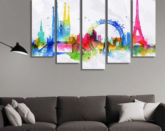 LARGE XL Overlay Silhouette of European Landmarks Canvas Wall Art Print Home Decoration - Framed and Stretched - 1134