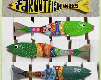 Far Out Fence Slat Fish (1 Regular Size - Choose Lime, Green or Dark Green)