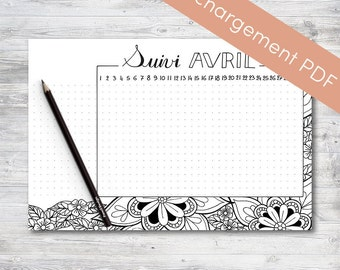 Habit Tracker Printable, April, Planner and Bullet Journal | Printable PDF