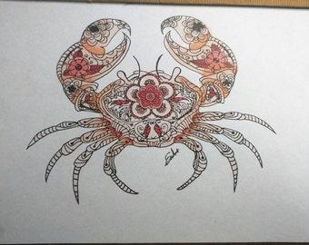 Crab / Cancer Zodiac Zentangle