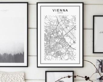 Vienna Map Print, Vienna Map, Vienna Print, Vienna Map Poster, Vienna City, Vienna Austria Map, Vienna, Black and White Map, Austria, Vienna