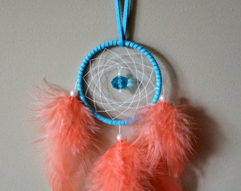 2'' Blue Dream Catcher with Coral Color Rooster Feathers #2D016 . Home decor. Gift idea. Rear View Mirror.