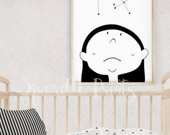 Kids Poster GIRL and STARS, Black and White Nursery Wall Art, Girl Illustration, Monochrome Print, Baby Card Gift, Modern Nursery Decor