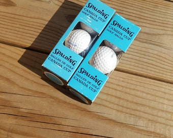 6 Spalding Canada Cup Golf Balls New in Box Vintage 70s 80s Gift for dad Summer Sport Man Cave Decor Golfing