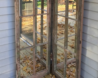 90 year old vintage mirror made into bi-fold mirrors