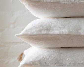 White linen pillow set / white decorative linen pillows / white linen color pillow set / natural linen cushion set / linen decor pillow set