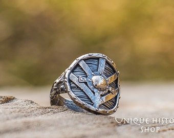 Lagertha's Shield Ring Viking Ring Handmade Sterling Silver Norse Jewelry