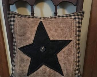 Accent Pillows/Handmade/Burlap Star Pillow/ Black and Tan Check Pillow /Black Star Burlap pillow