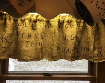 Primitive Curtains /Feed Sack Valance /Burlap Curtains  / Country Curtains/ Prairie curtains/ Farmhouse/ Handmade