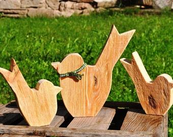 Wood bird group bird family bird wood wooden bird family gift birthday Christmas gift idea nature birds handmade Woodart