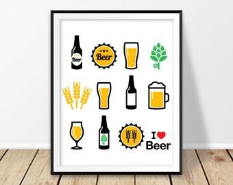 Beer Wall Decor beer wall art | etsy