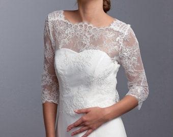 Long sleeve lace jacket, Bridal cover up, Bridal lace top, Long sleeve bridal bolero