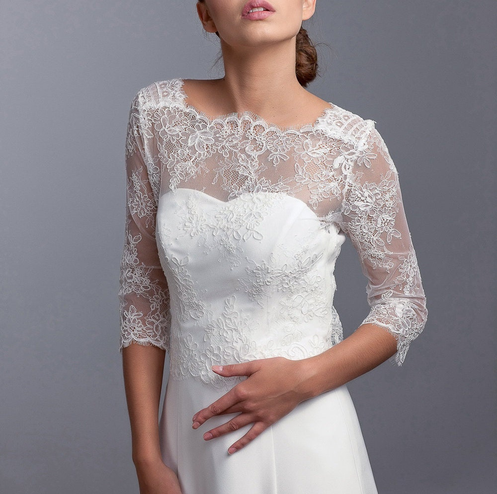 Wedding Gown Cover Ups: Long Sleeve Lace Jacket Bridal Cover Up Bridal Lace Top
