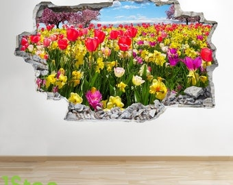 Tulip Field Wall Sticker 3d Look - Bedroom Lounge Nature Wall Decal Z47