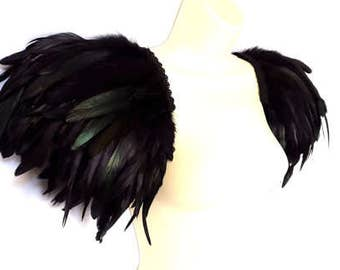 Black feather epaulettes. Large Steampunk feather shoulder pads. Burning Man. 'Black Swan'