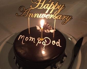 Happy Anniversary Gold Glitter & Black Matt Cake Topper