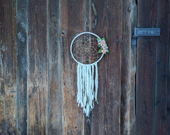 Nursery dream catcher/ Shabby chic white floral wall hanging/wedding dreamcatcher