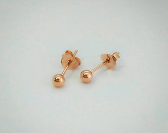 3mm Rose Gold Ball stud earrings - 925 Sterling Silver - Dainty stud earrings -tiny ball stud earrings - cartilage stud earrings - Delicate