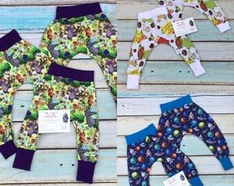 MBJM harem trousers. custom printed jersey fabric. high quality.