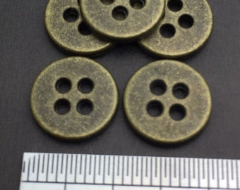 "Vintage Metal 4 Hole Sew On Button, Antique Brass, 25 Pcs, 15L(Diameter 9.5mm, 0.37"")"