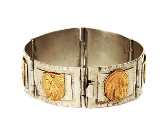 Pre-Eagle Taxco Bracelet, Mexico 925 Sterling Silver, 37gr Panel Link Bracelet, Antique 40s Medallion Link Bracelet, Figurative Aztec Mayan