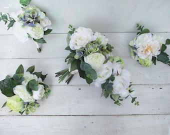 Luxury cascade teardrop bridal bouquet bridesmaid bouquet wedding flowers ivory cream peony rose rustic garden flowers