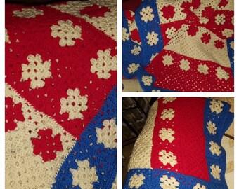 Handmade Custom Crochet American Flag inspired blanket