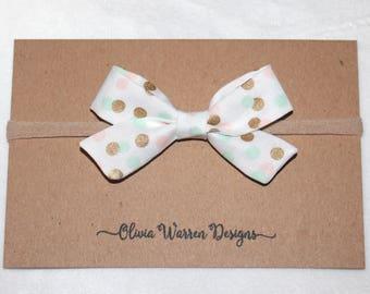 Pink mint gold bow; tied bow headband