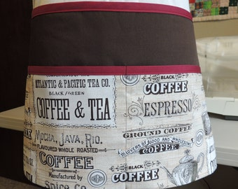 Cute multi-purpose apron in coffee & tea print and red accents