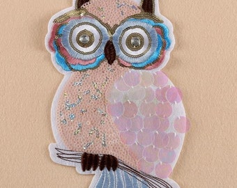 1pc Sequinned Owl Iron on Patch