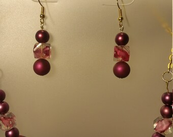 Maroon and pink necklace and earring set
