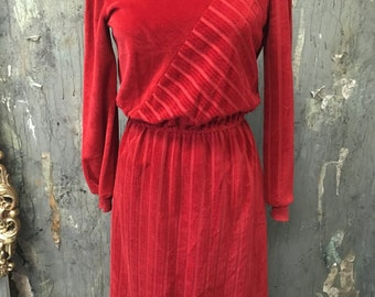NON STOP Vintage Red Asymmetrical Velour Casual Striped 80's Winter DRESS Small Medium