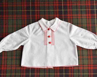Shirt, jacket for baby / white / red fabric buttons and stitching