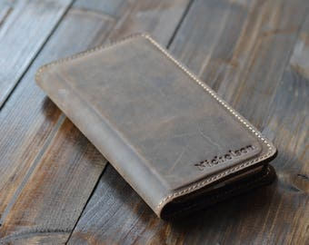 Personalized Leather iPhone Wallet, Leather iPhone Case, Magnetic iPhone Case, Distressed Leather, Chestnut Brown